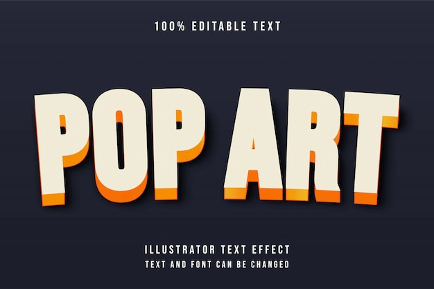 팝 아트, 3d 편집 가능한 노란색 그라데이션 오렌지 도트 패턴 텍스트 효과 현대 그림자 스타일