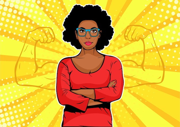 Pop art african american businesswoman with muscles