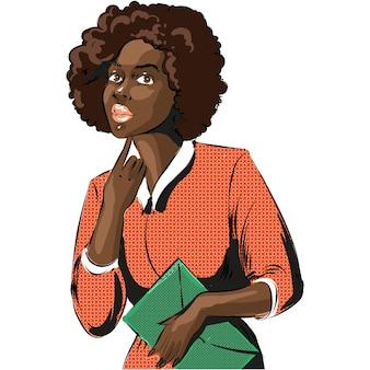 Поп-арт афро-африканская женщина бизнес-леди векторные иллюстрации