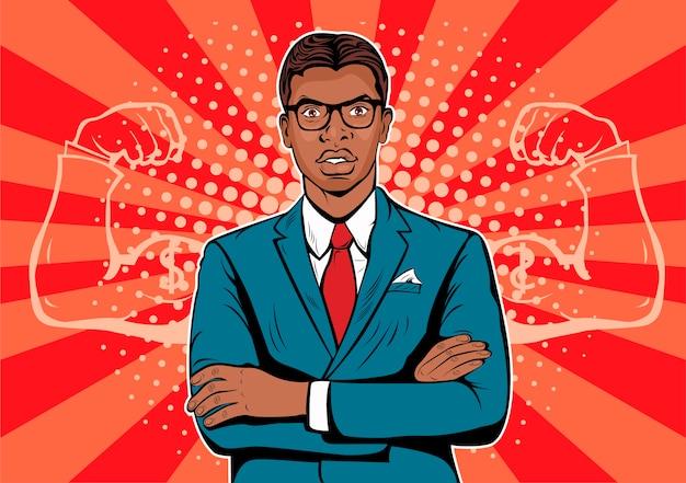 Pop art afro american businessman