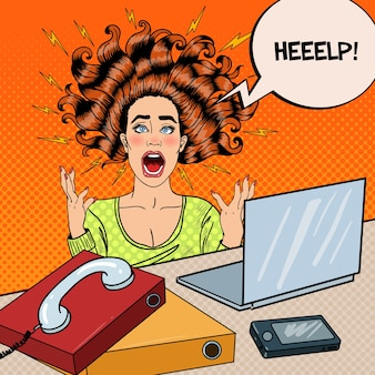 Pop art aggressive furious screaming woman with laptop at office work.  illustration