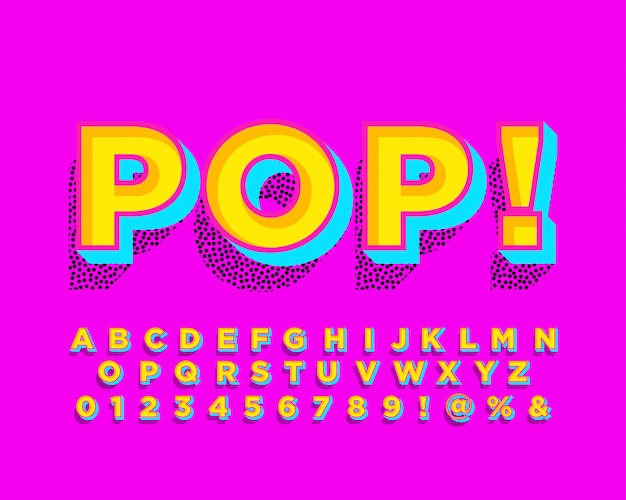 Pop art alphabet with halftone shadow