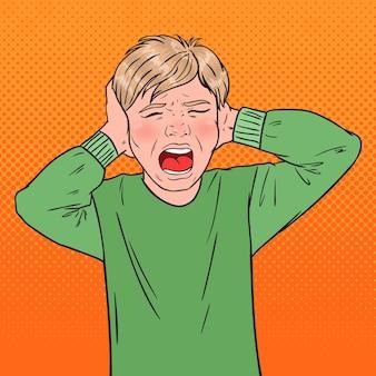 Pop art angry screaming boy tearing his hair