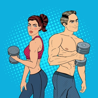 Pop art athletic man and woman exercising with dumbbells.  illustration