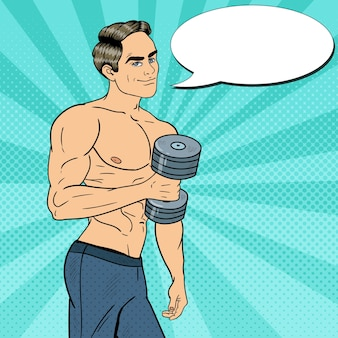 Pop art athletic strong man exercising with dumbbells.  illustration