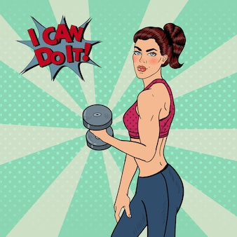Pop art athletic strong woman exercising with dumbbells.  illustration