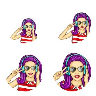 Icone di avatar pop art