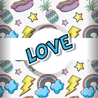 Pop art background colorful cartoons
