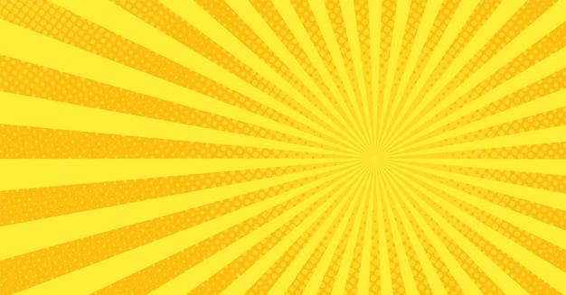 Фон поп-арт. комикс мультфильм текстуры с полутонов и солнечных лучей. желтый узор звездообразования. ретро-эффект с точками. винтажный баннер солнечного света. фон вау супергероя. векторная иллюстрация.