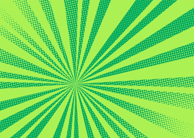 Pop art background. comic halftone pattern. green cartoon with dots and rays. vintage duotone texture.
