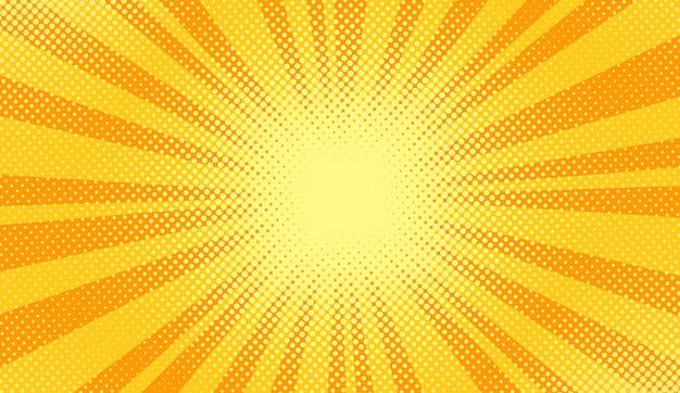 팝 아트 배경입니다. 만화 하프톤 패턴입니다. 노란색 만화 배너입니다. 이중톤 텍스처입니다. 슈퍼 히어로 배너