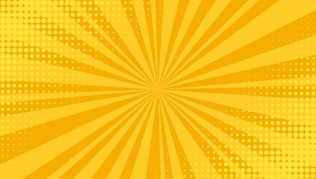 팝 아트 배경입니다. 만화 하프톤 텍스처입니다. 노란색 만화 항성 패턴입니다. 빔과 점이 있는 복고풍 인쇄. 빈티지 햇살 배너입니다. 재미 있는 슈퍼 히어로 배경.