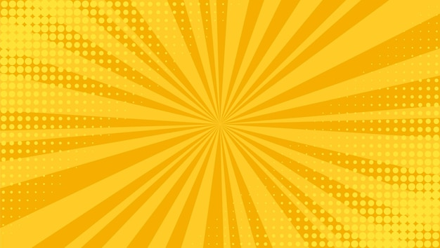 Pop art background. comic halftone texture. yellow cartoon starburst pattern. retro print with beams and dots. vintage sunburst banner. funny superhero backdrop.