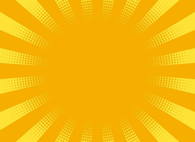 Фон поп-арт. комическая полутоновая текстура. желтый узор звездообразования с лучами и точками