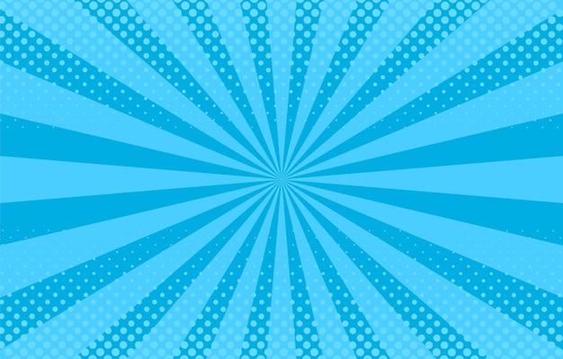 팝 아트 배경입니다. 스타 버스트, 하프톤 만화 패턴입니다. 파란색 배너입니다. 만화 햇살 효과