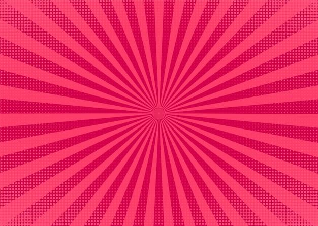 팝 아트 배경입니다. starburst와 하프톤 만화 패턴입니다. 만화 텍스처입니다. 핑크 이중톤 효과