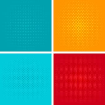 Pop art background vector set.