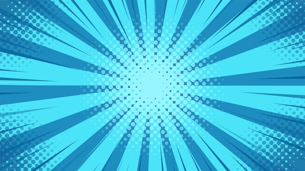 漫画のスタイルでセンターから散乱する青色光とポップアートの背景。