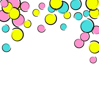 Поп-арт фон с конфетти комиксов в горошек. большие цветные пятна, спирали и круги на белом. векторная иллюстрация. красочный детский всплеск для дня рождения. радуга поп-арт фон.