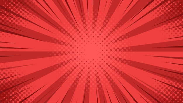 Pop art background with red light scattered from the center in cartoon style.