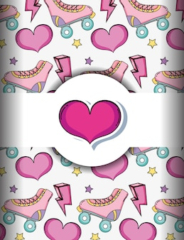 Pop art background with skates and hearts