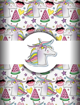 Pop art background with unicorns and lips