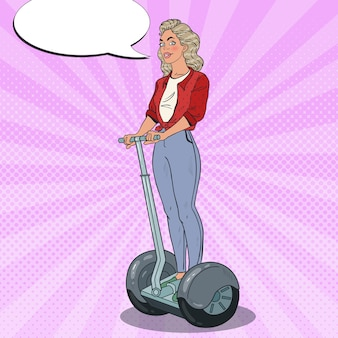 Pop art beautiful woman driving segway