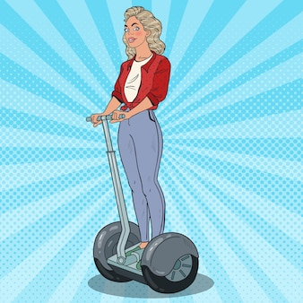 Pop art beautiful woman riding segway