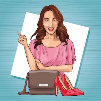 팝 아트 아름 다운 여자 웃는 만화