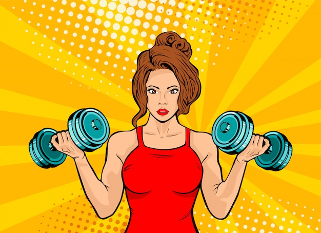 Pop art beautiful woman with dumbbells in gym