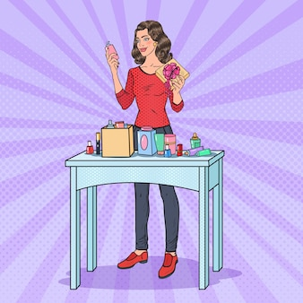 Pop art beautiful woman with gift box and cosmetics