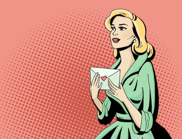 ポップアートの愛の手紙を持つ美しい女性。コミックの手描きイラスト。