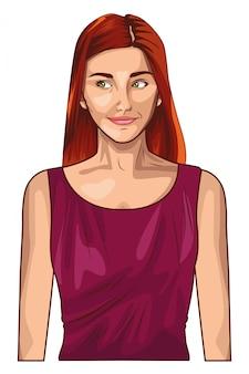 Pop art beautiful and young woman cartoon