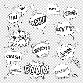 Pop art black white bubbles set with sound effects and exclamations on transparent