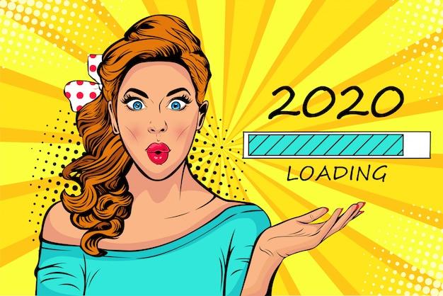 2020の読み込みプロセスを見てポップアートブロンドの女性。新年を待っています。