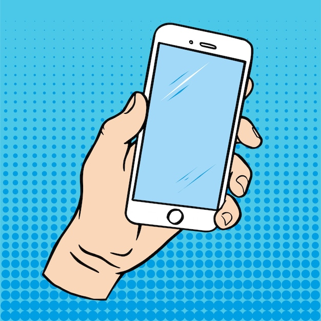Pop art blue background with male hand holding smartphone