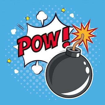 Pop art bomb pow with bubble speech