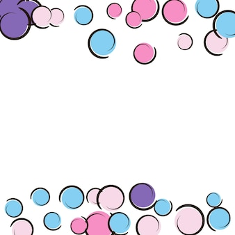 Pop art border with comic polka dot confetti. big colored spots, spirals and circles on white. vector illustration. colorful childish splash for birthday party. rainbow pop art border.