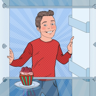 Pop art boy sees tasty cake in the fridge