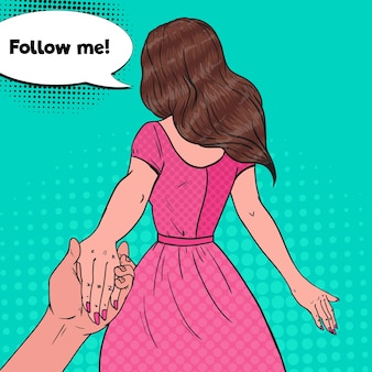 Pop art brunette woman holding hands. follow me journey concept.