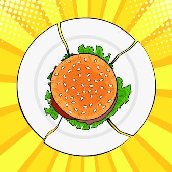 Pop art burger on broken plate, heavy fast food