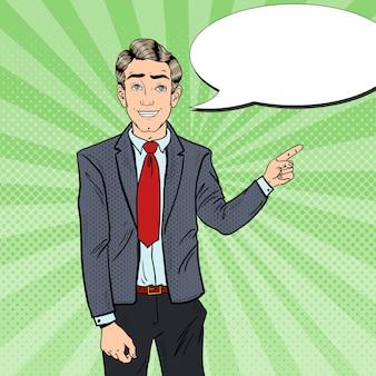 Поп-арт деловой человек, указывая пальцем на копией пространства. деловая презентация.