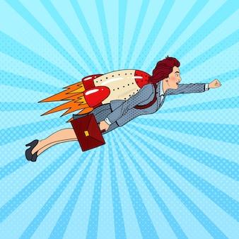 Поп-арт бизнес-леди, летящая на ракете. творческий стартап.