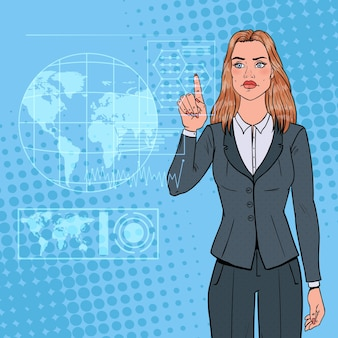 仮想ホログラフィックインターフェイスを使用してポップアートビジネスウーマン。未来のテクノロジータッチスクリーン。