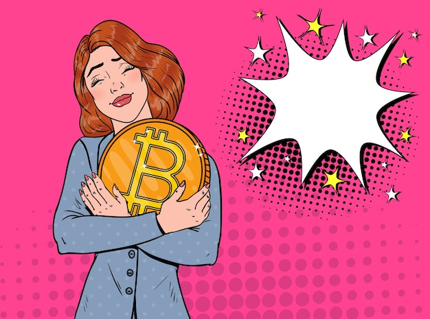 Pop art business woman with big golden bitcoin coin. crypto currency concept. virtual money advertising poster.