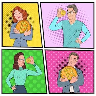 Поп-арт бизнесмен и бизнес-леди с золотыми монетами bitcoin. концепция криптовалюты. рекламный плакат виртуальных денег.