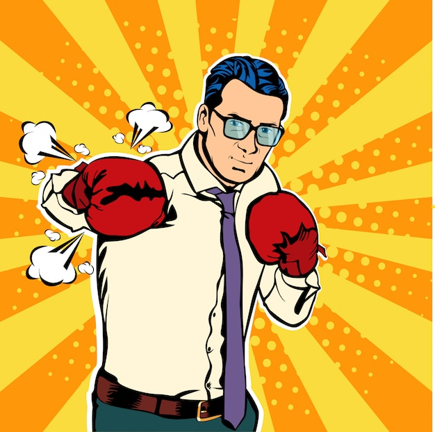 Pop art businessman in boxing gloves fights