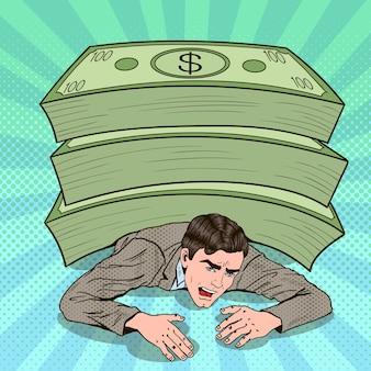 Pop art businessman crushed by huge pile of cash.