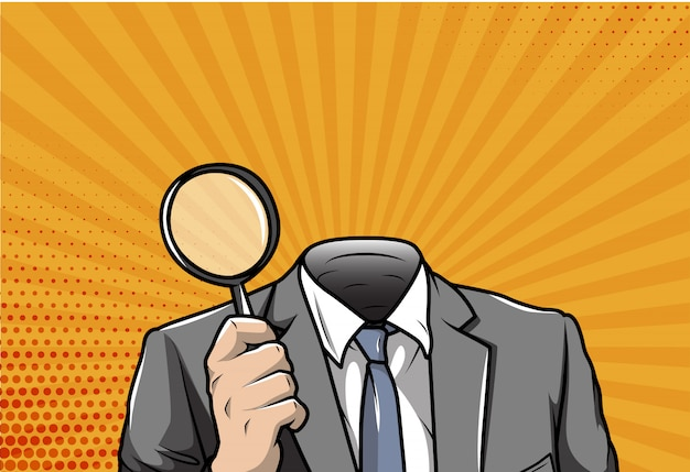 Pop art businessman holding magnifying glass