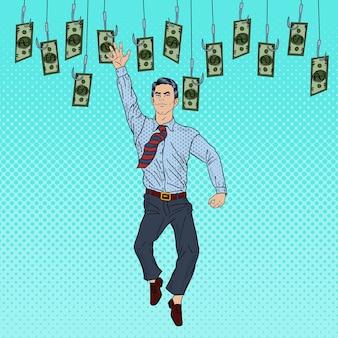 Поп-арт бизнесмен прыгает за деньги на рыболовные крючки. иллюстрация